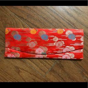 Vintage handmade red oriental mandarin clutch